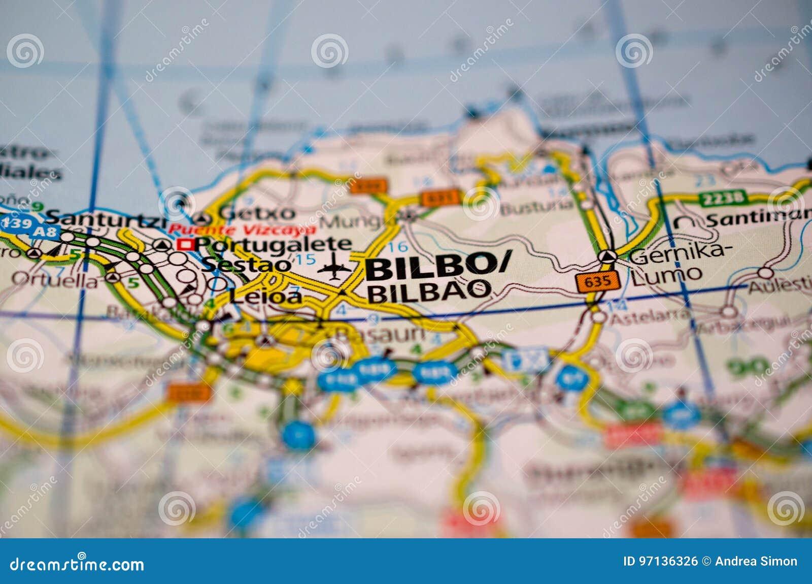 Mapa De Bilbao España.Bilbao En Mapa Foto De Archivo Imagen De Bilbao Ciudad