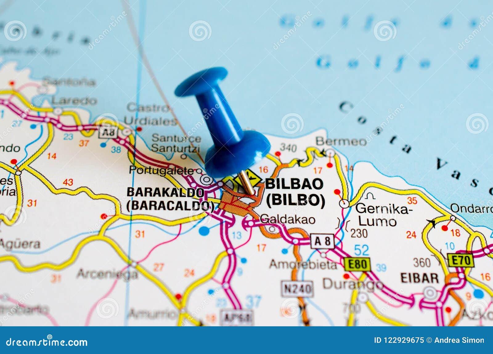 Map Of Spain Eibar.Bilbao On Map Stock Image Image Of Barakaldo Port 122929675