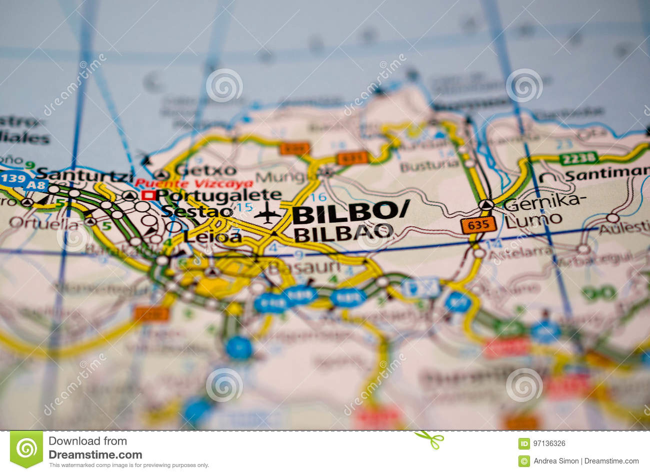 Bilbao On Map Of Spain.Bilbao On Map Stock Photo Image Of Street Transport 97136326