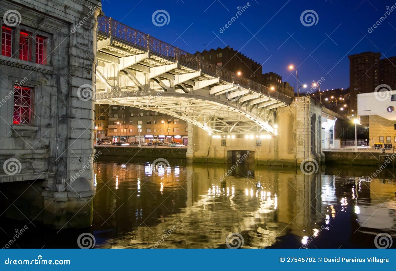 Bilbao river promenade at night