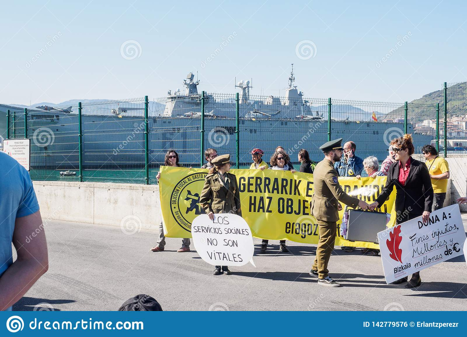 BILBAO, SPAIN - MARCH / 23/2019. People Protesting The ...Spanish Aircraft Carriers 2019
