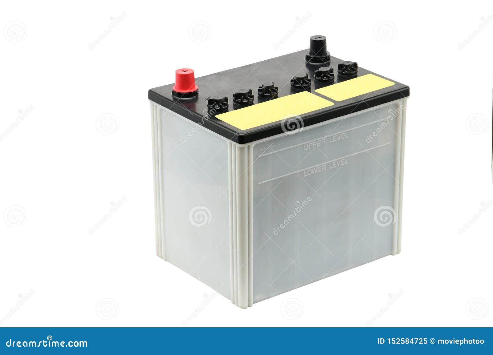 Bilbatteri p? en vit bakgrund