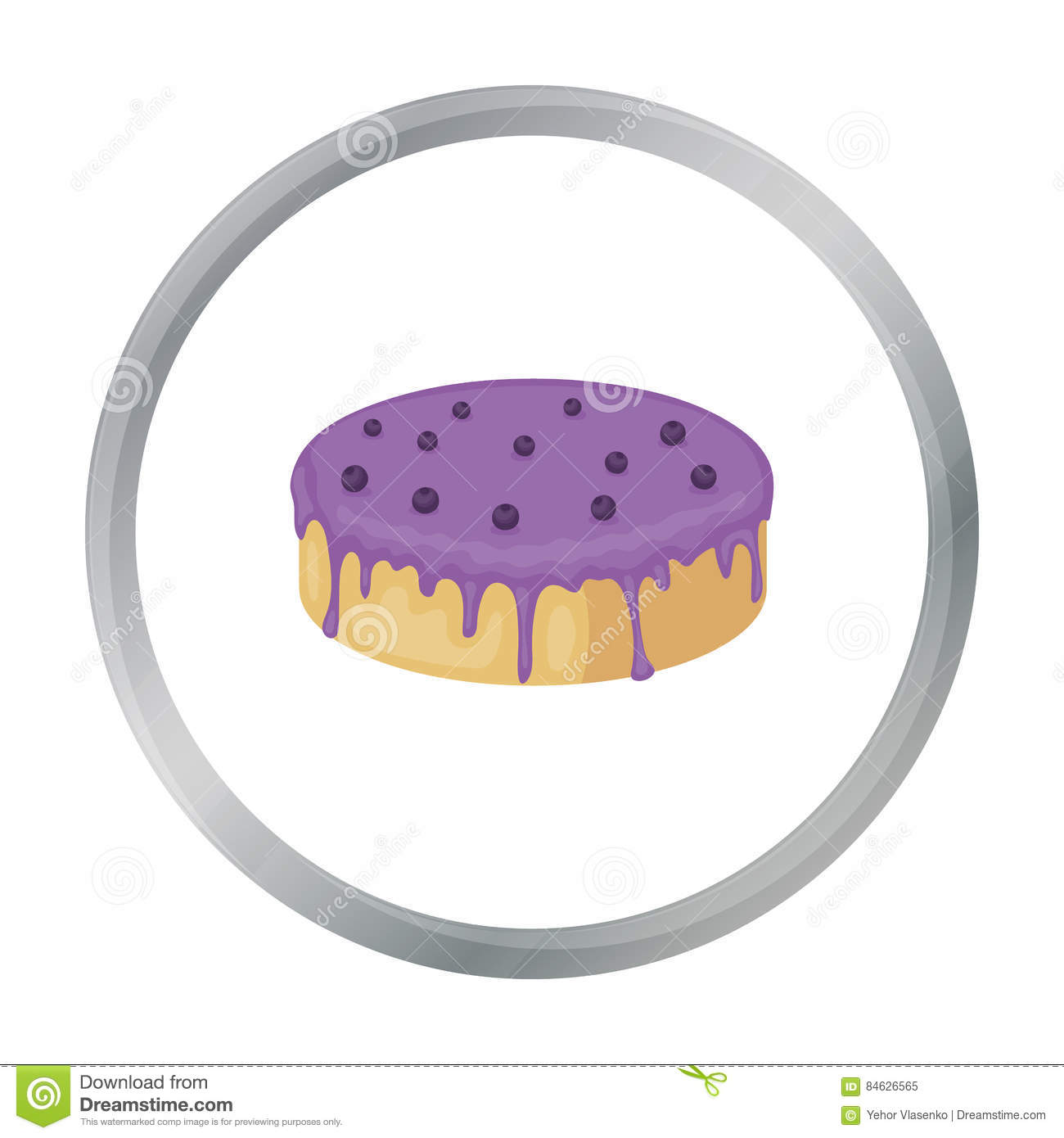 Bilberry Cake Icon In Cartoon Style Isolated On White Background