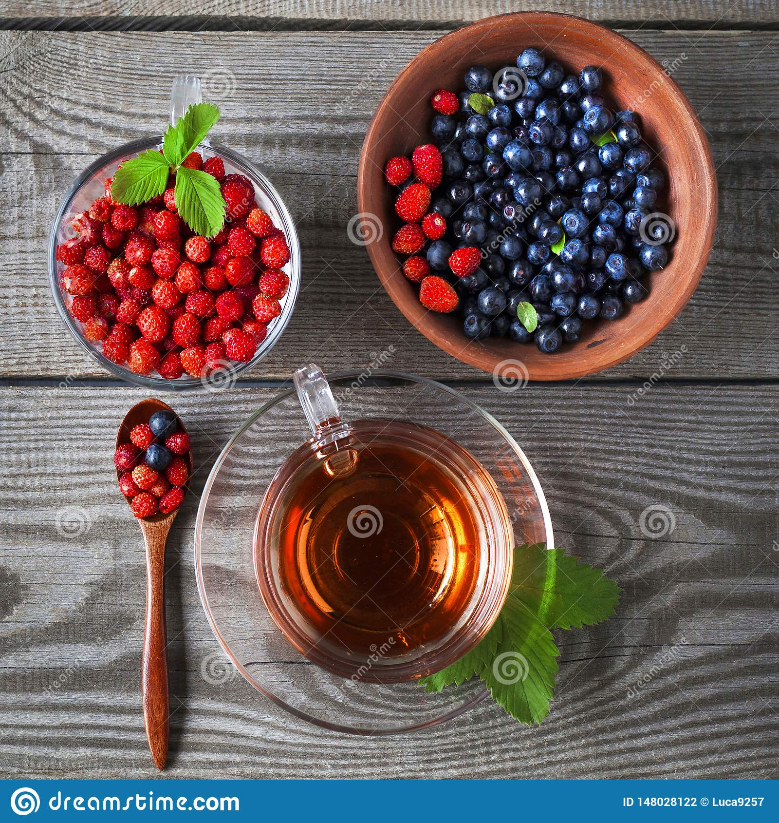 Bilberry and wild strawberry and fruit tea