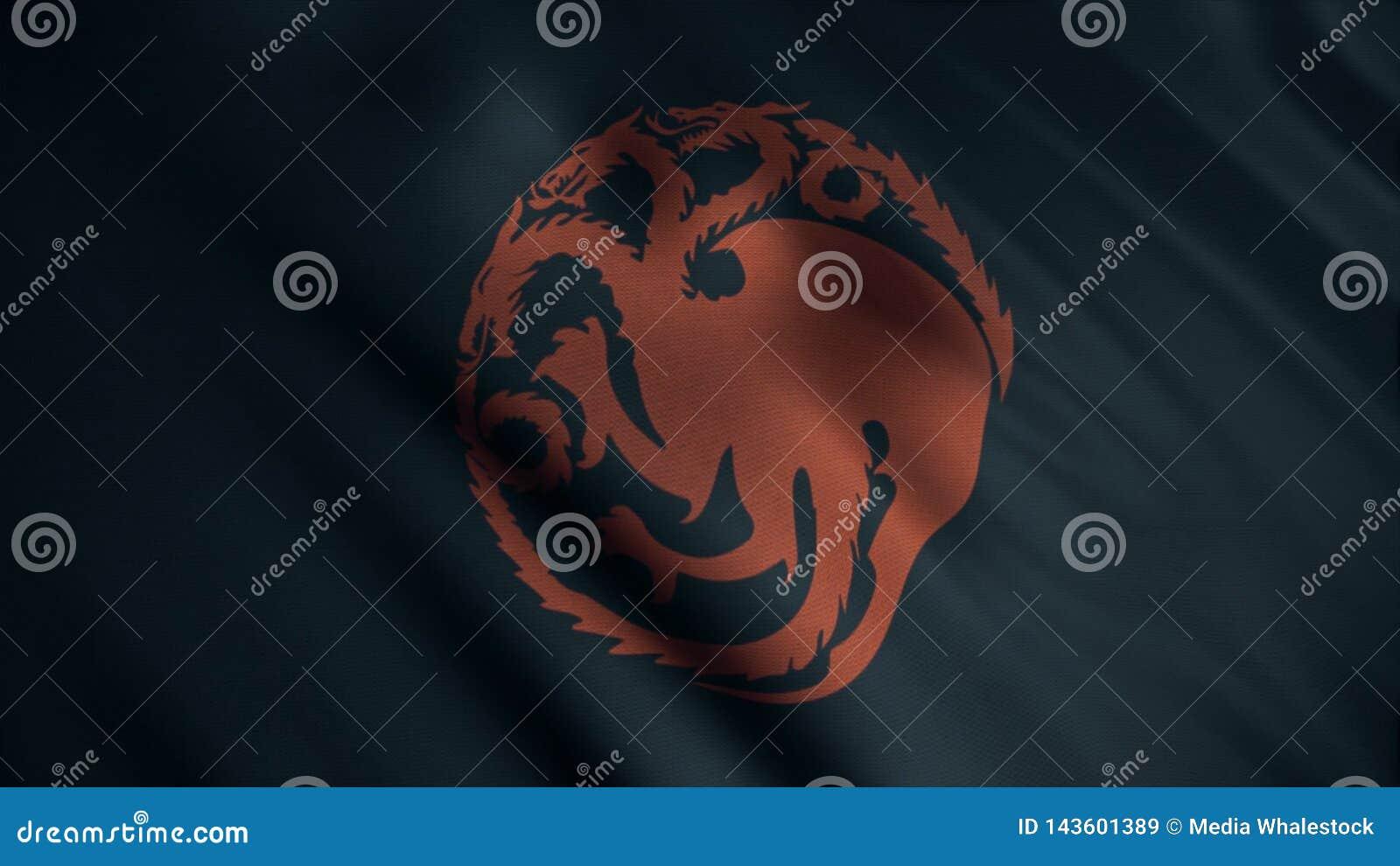 Bild av den röda tre-hövdade draken som vrids in i cirkel på bakgrund av framkallning av den svarta flaggan djur Emblem av huset