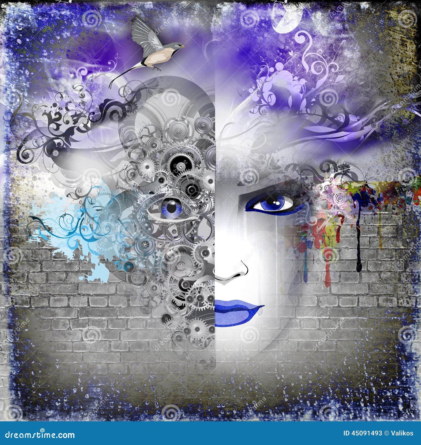 Bild Der Abstrakten Kunst Mit Frau Stock Abbildung Illustration Von Bild Kunst 45091493