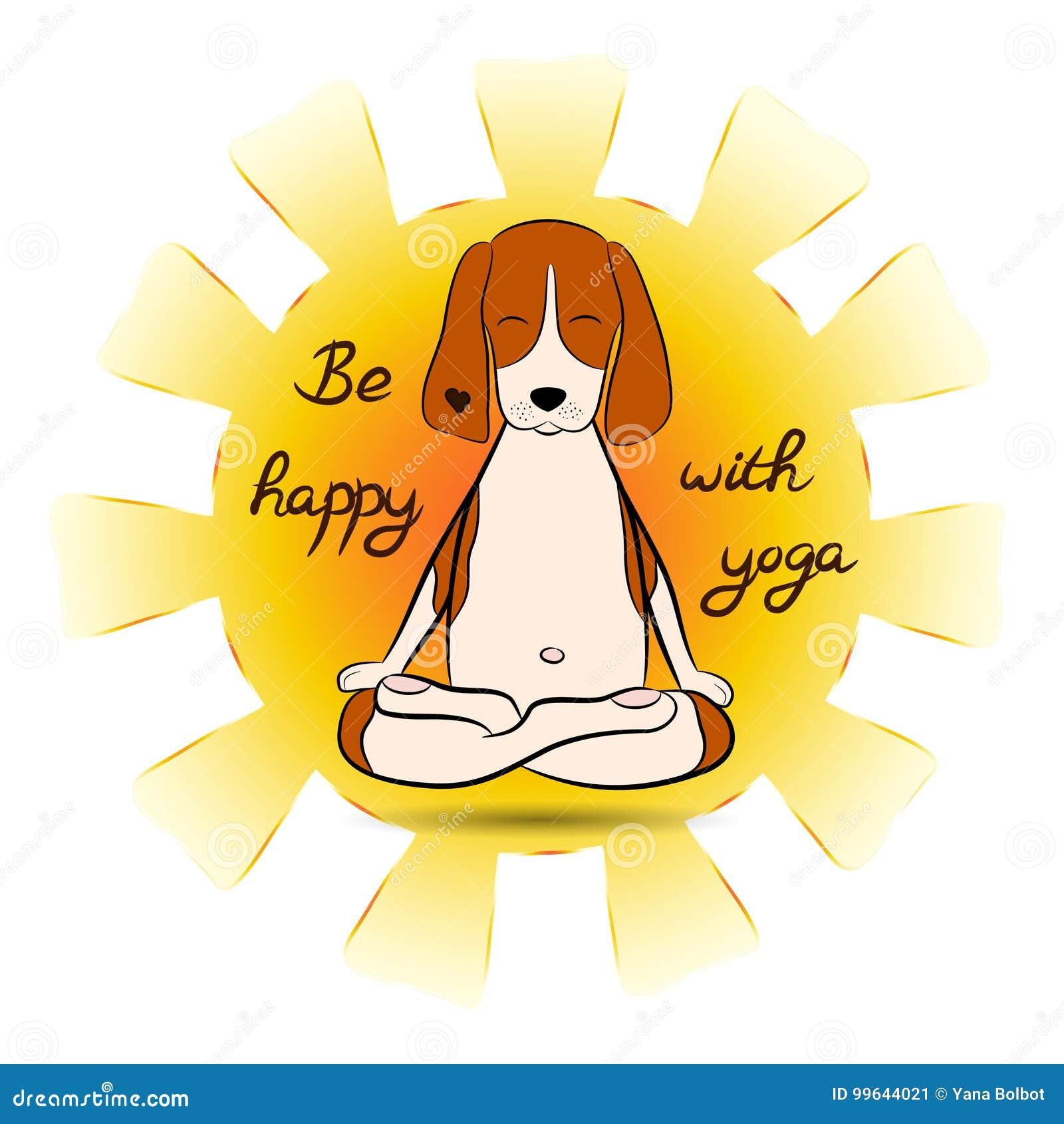 Bild Eines Lustigen Spurhunds Der Karikatur Hunde Derauf Lotussitz