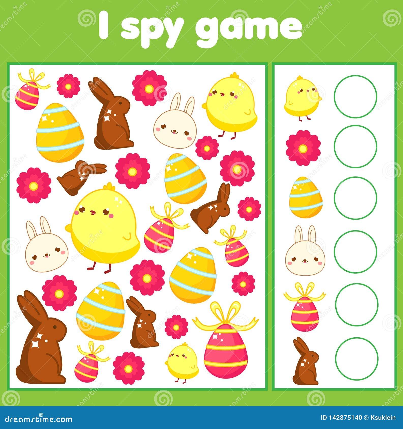 Bildande barnlek Jag spionerar arket för små barn Fynd- och räkningspåsk som är activty för ungar