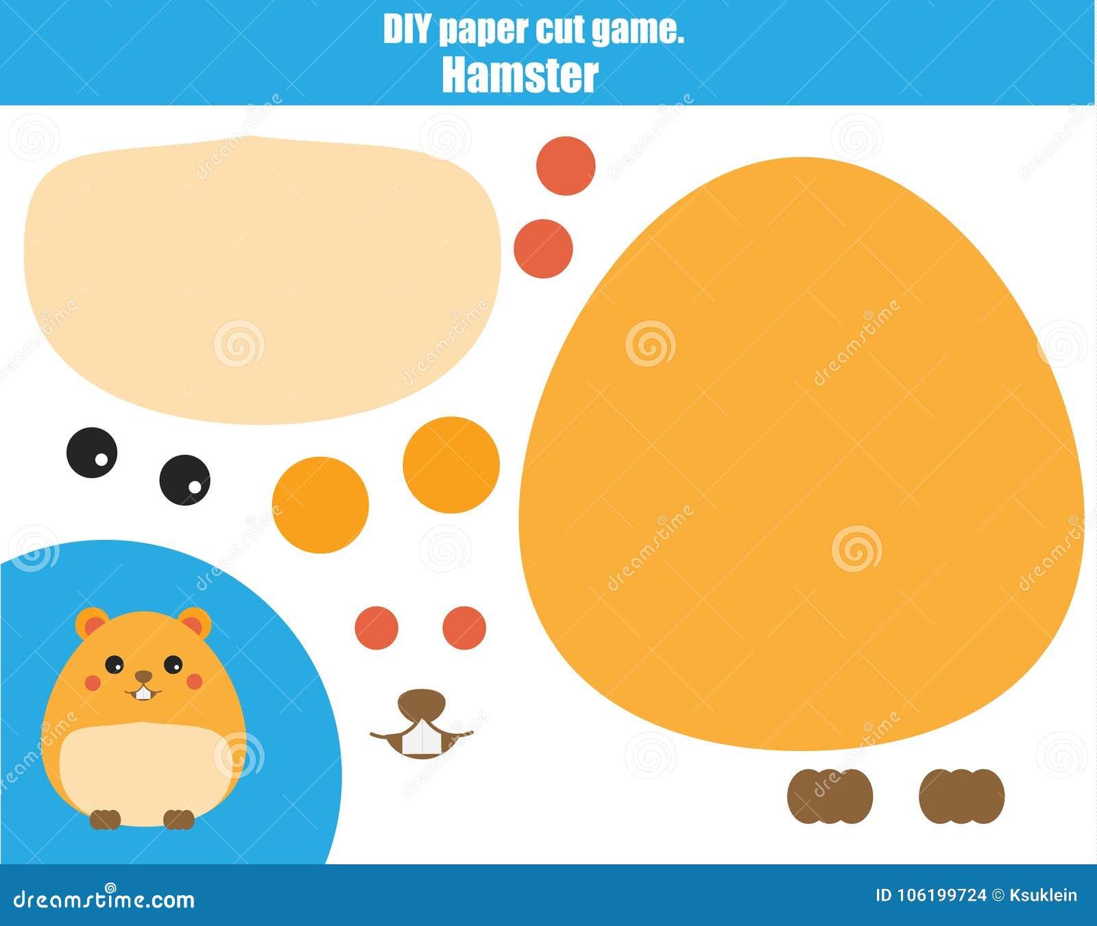 Bildande idérik lek för DIY-barn Gör en hamster med sax och lim Paprecut aktivitet Idérikt tryckbart orubbligt för