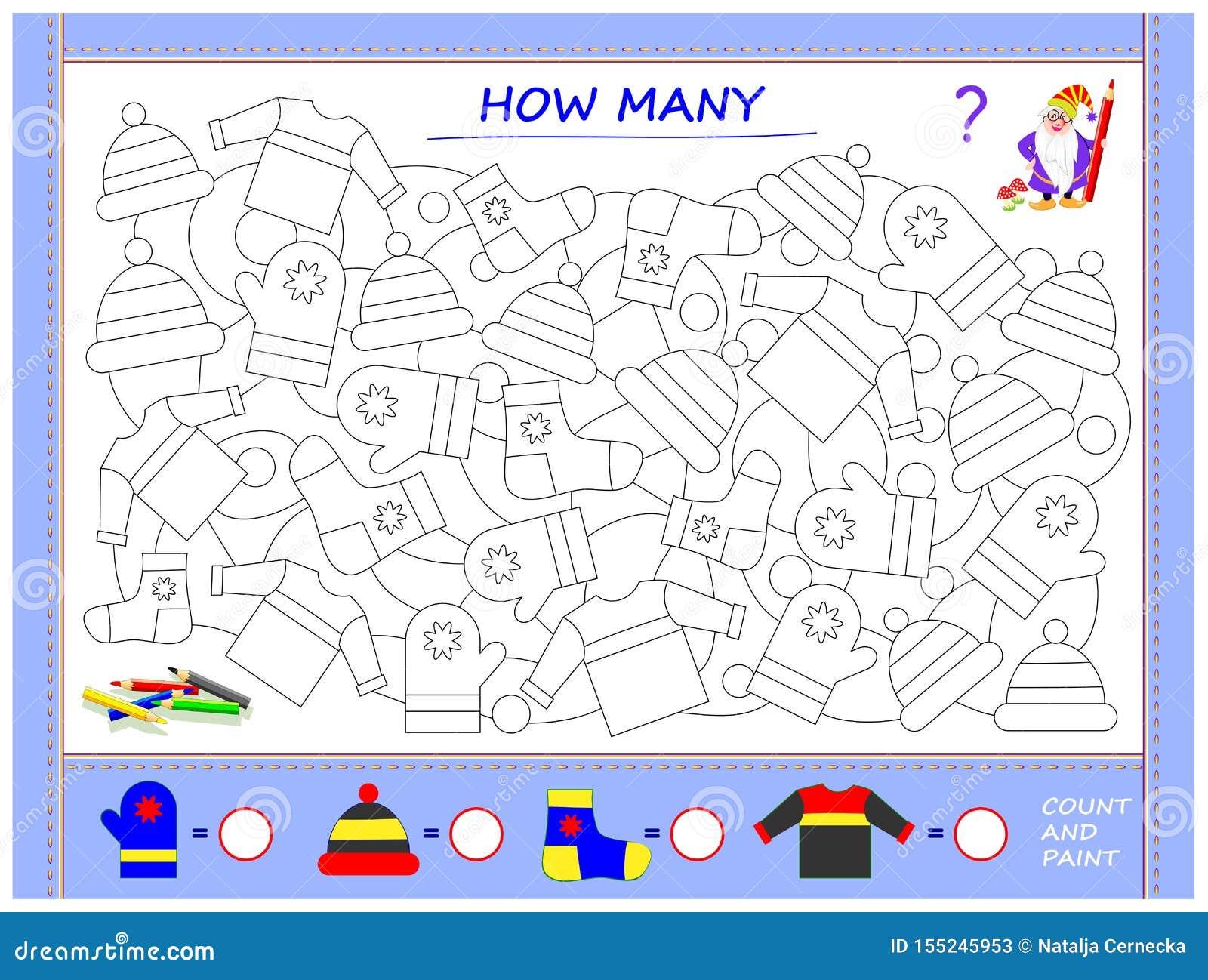 Bildande sida för små barn på matematik Finna djur, måla dem, räkna antalet och skriv nummer i cirklar