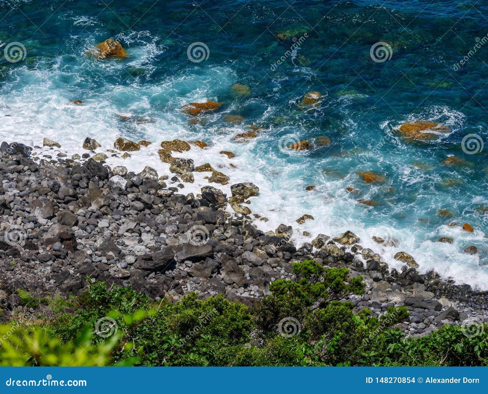 Bilden av havet med vaggar l?ngs en kust