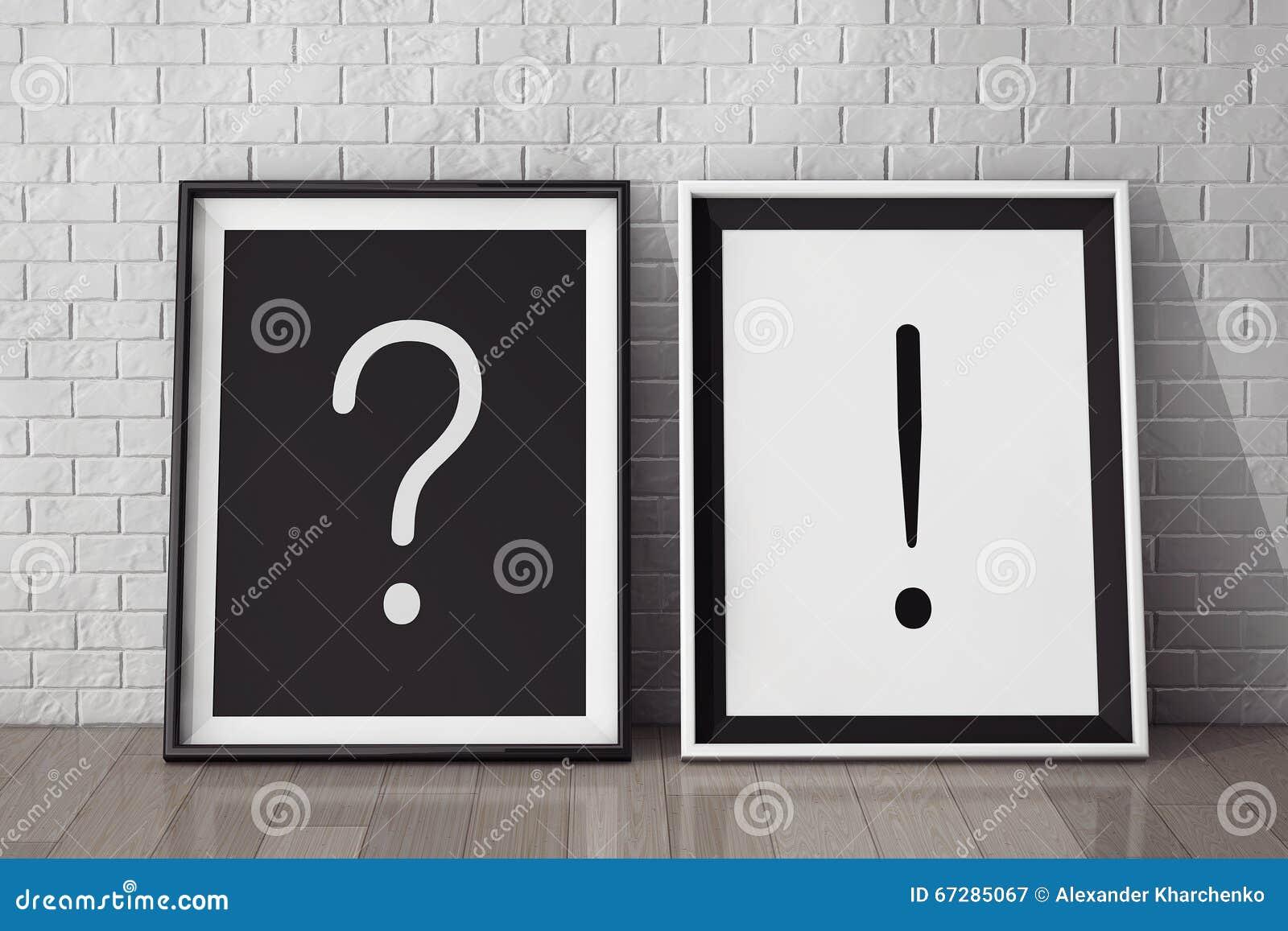 Bilderrahmen Mit Frage Und Ausrufezeichen Stockbild - Bild von ...