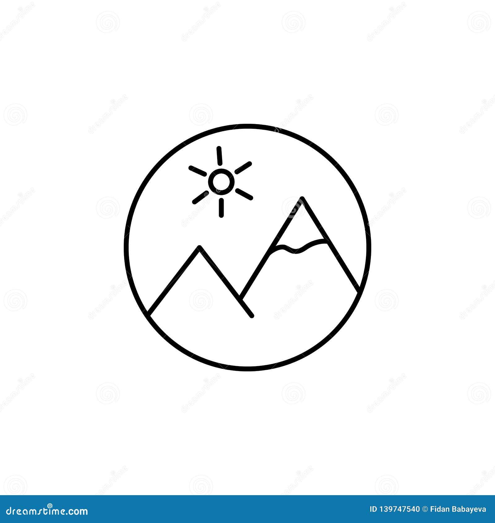 Bildmediengebirgsentwurfsikone Zeichen und Symbole können für Netz, Logo, mobiler App, UI, UX verwendet werden