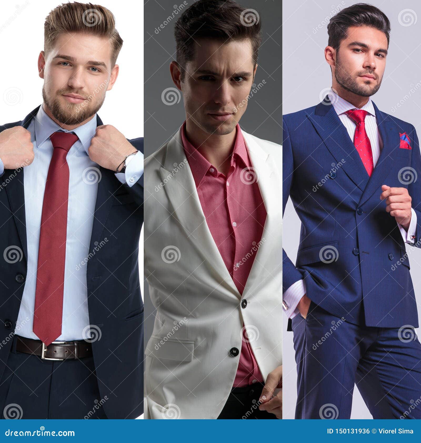 Bildmontage av ungt stiligt posera för män