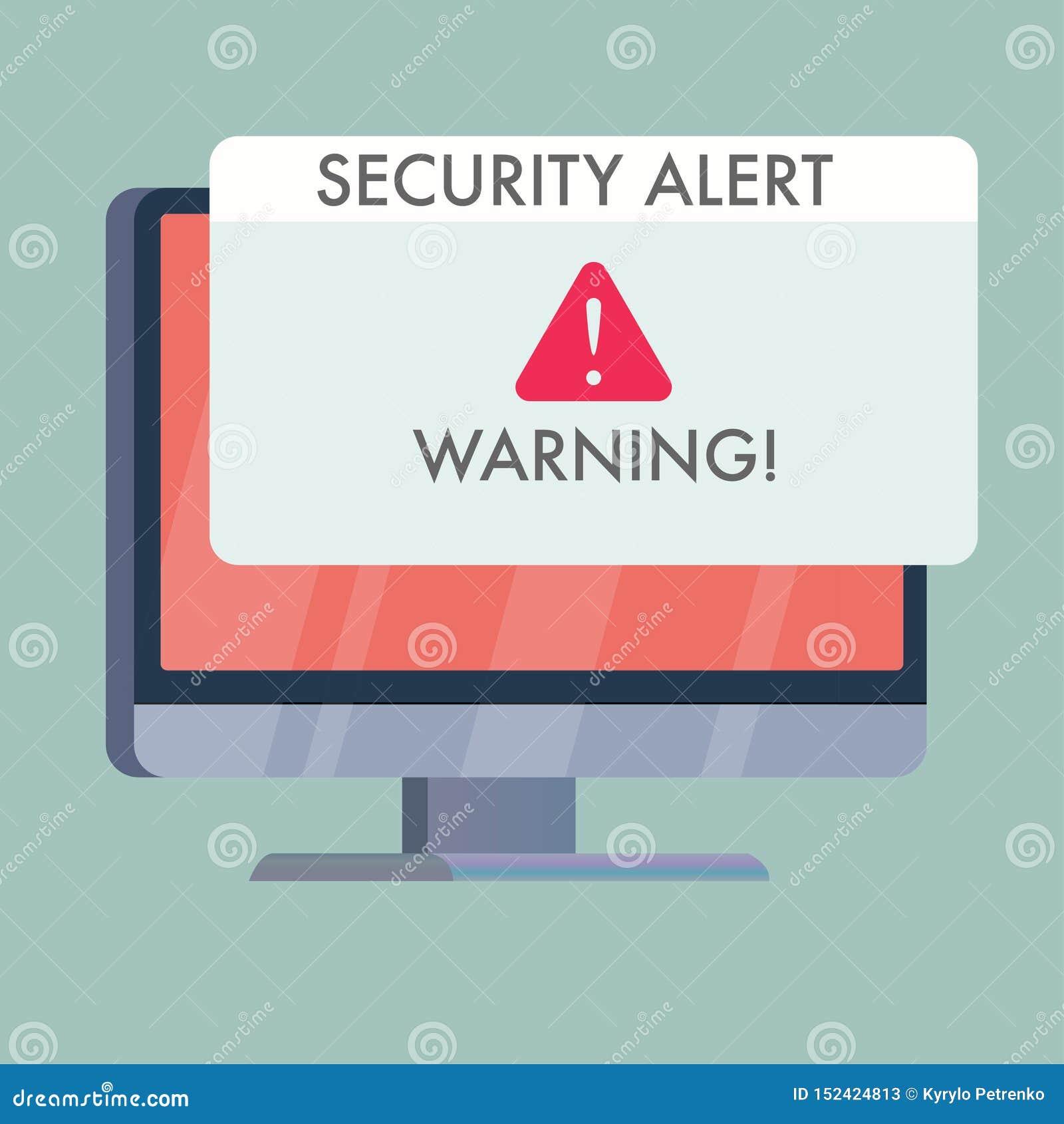 Bildschirm mit der Sicherheitswarnung, die an warnt
