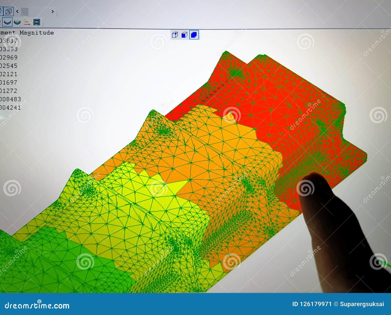 Bildschirm mit Finit-Element-Methoden-Ergebnis