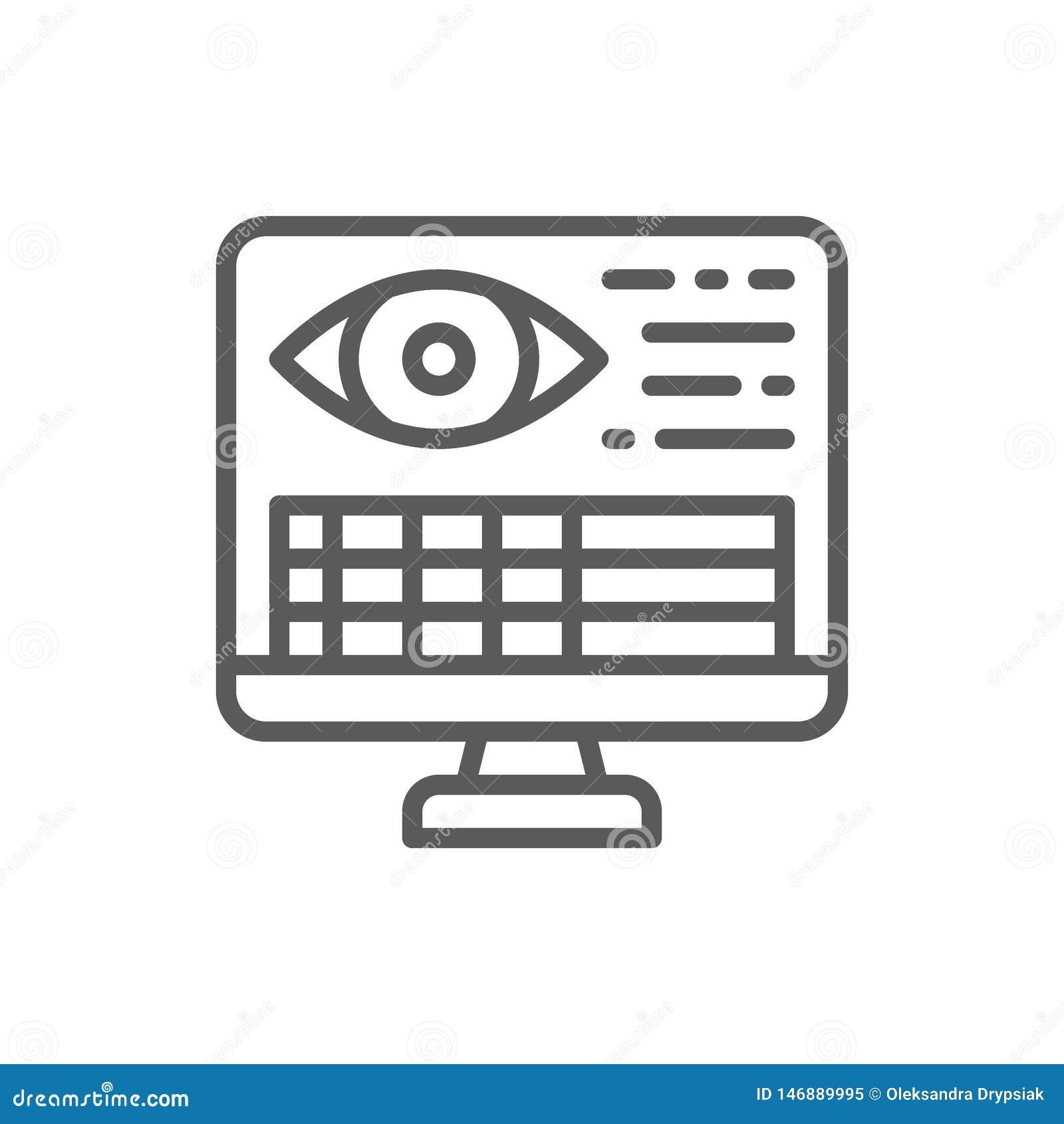 Bildskärm med den tålmodiga personliga sidan, medicinsk ögonhistorielinje symbol