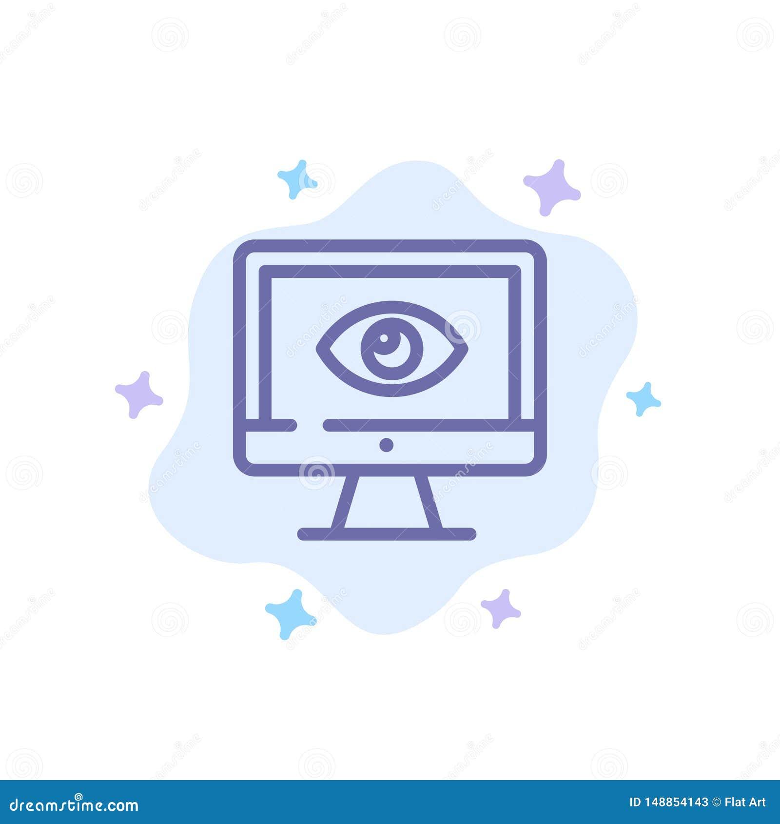 Bildskärm som är online-, avskildhet, bevakning, video, blå symbol för klocka på abstrakt molnbakgrund