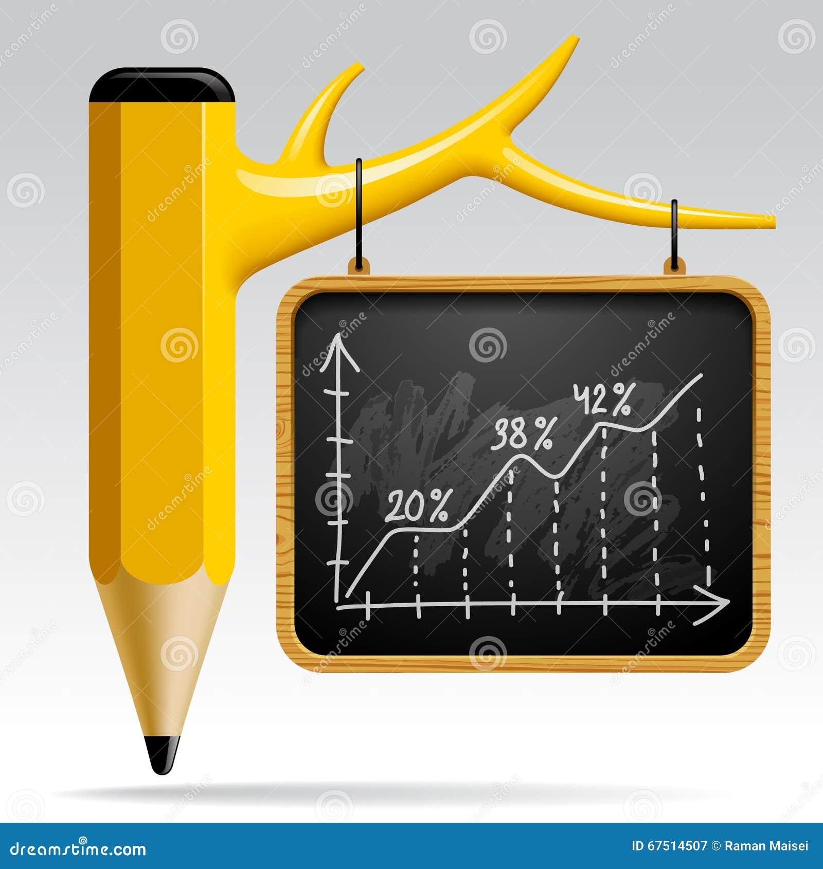 Bildungsdesign mit Baum-Bleistift und Tafel