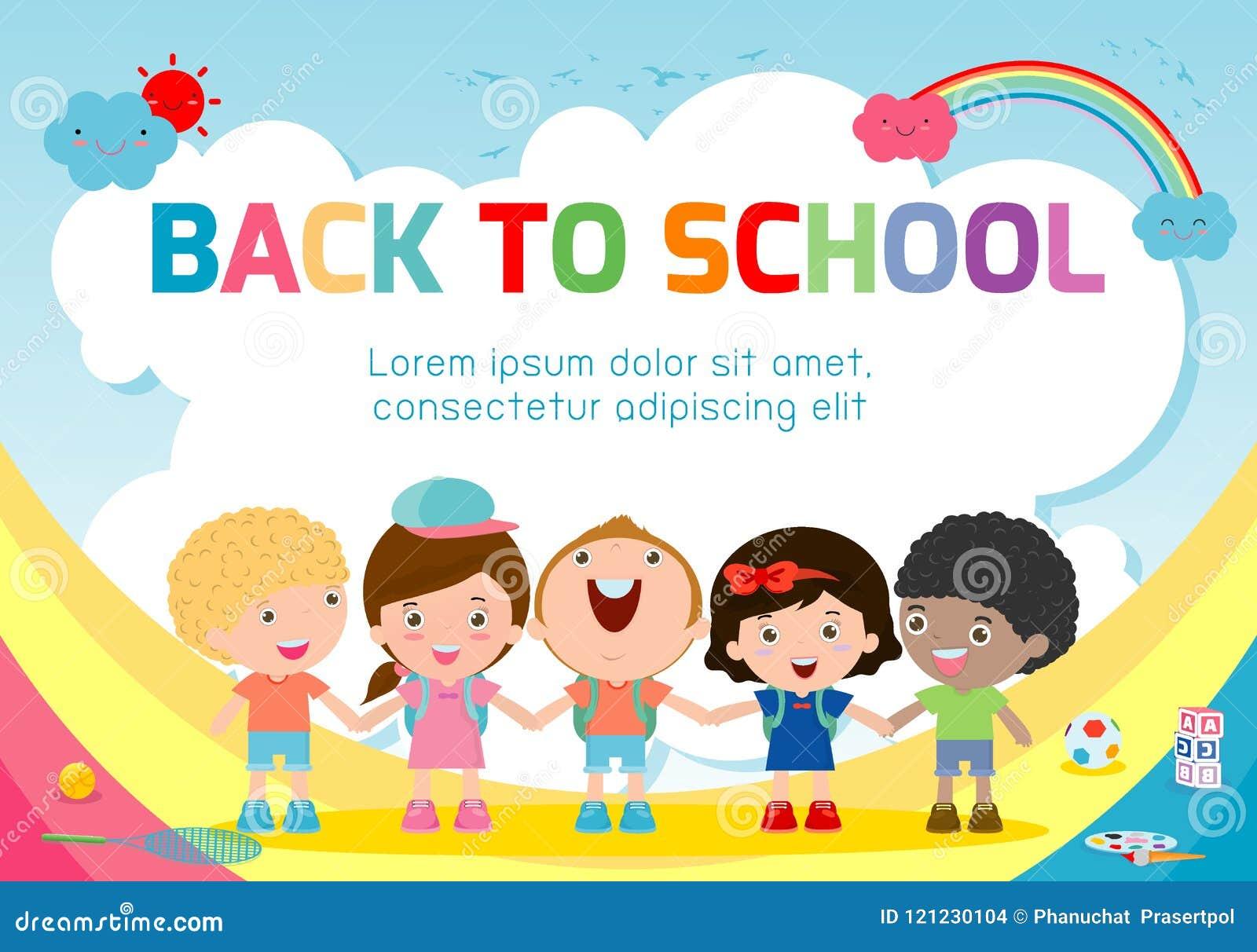 Bildungsgegenstand an zurück zu Schulhintergrund, zurück zu Schule, scherzt Händchenhalten, Bildungskonzept, Schablone