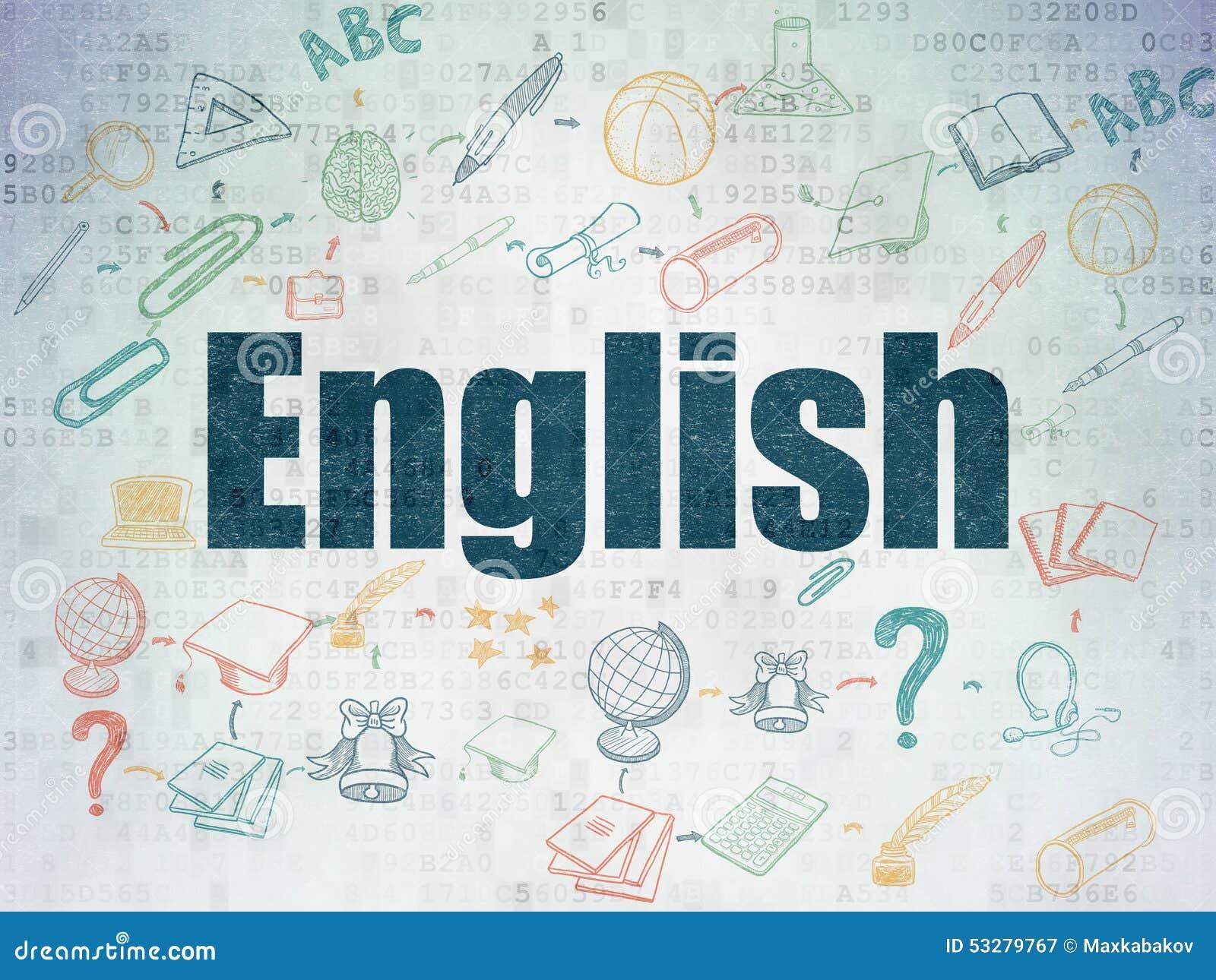 Bildungskonzept Englisch Auf Digital Papier Stock Abbildung