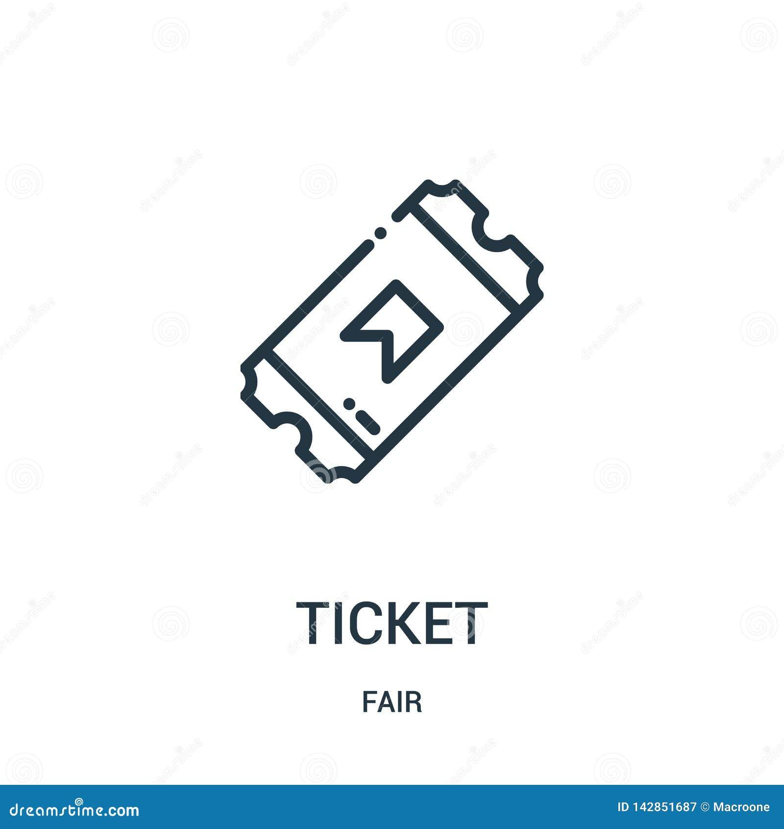 Biletowy ikona wektor od uczciwej kolekcji Cienka kreskowa biletowa kontur ikony wektoru ilustracja Liniowy symbol dla używa na s