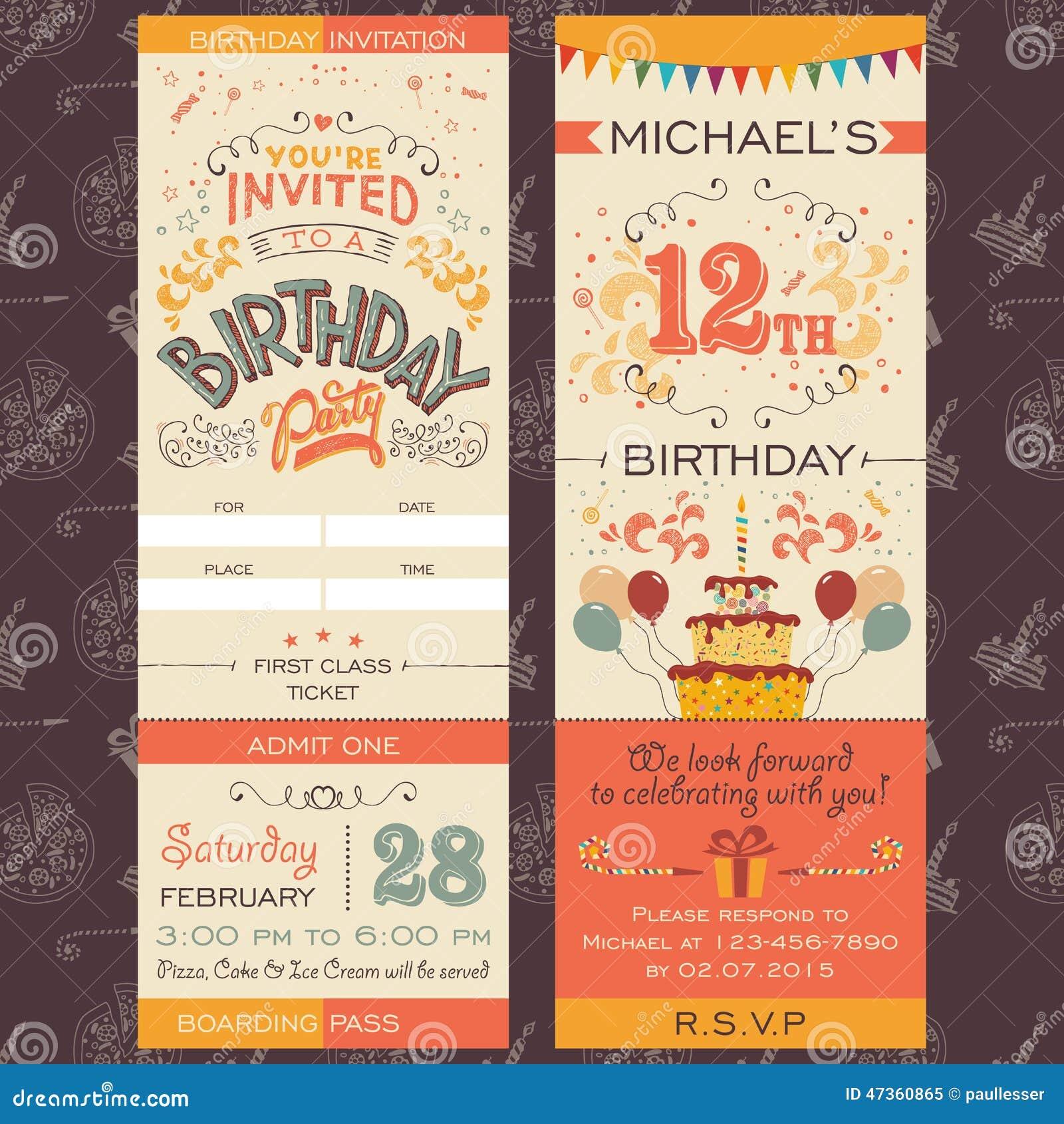 Biljett för inbjudan för födelsedagparti