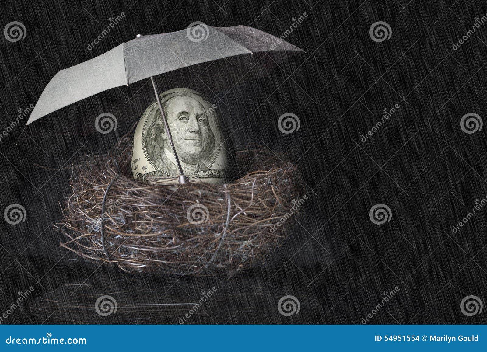 100 Bill Dolarowy Gniazdowy jajko z parasolem