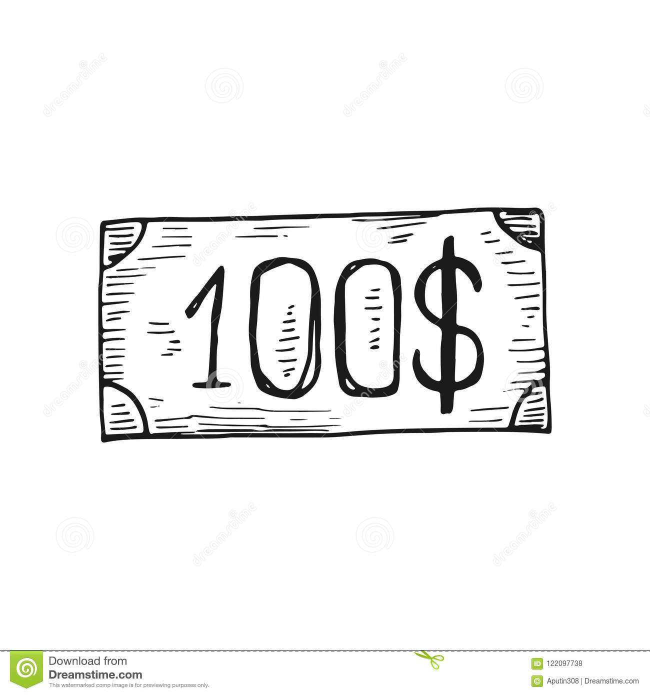 Bill hundred dollars icon. isolated on white background