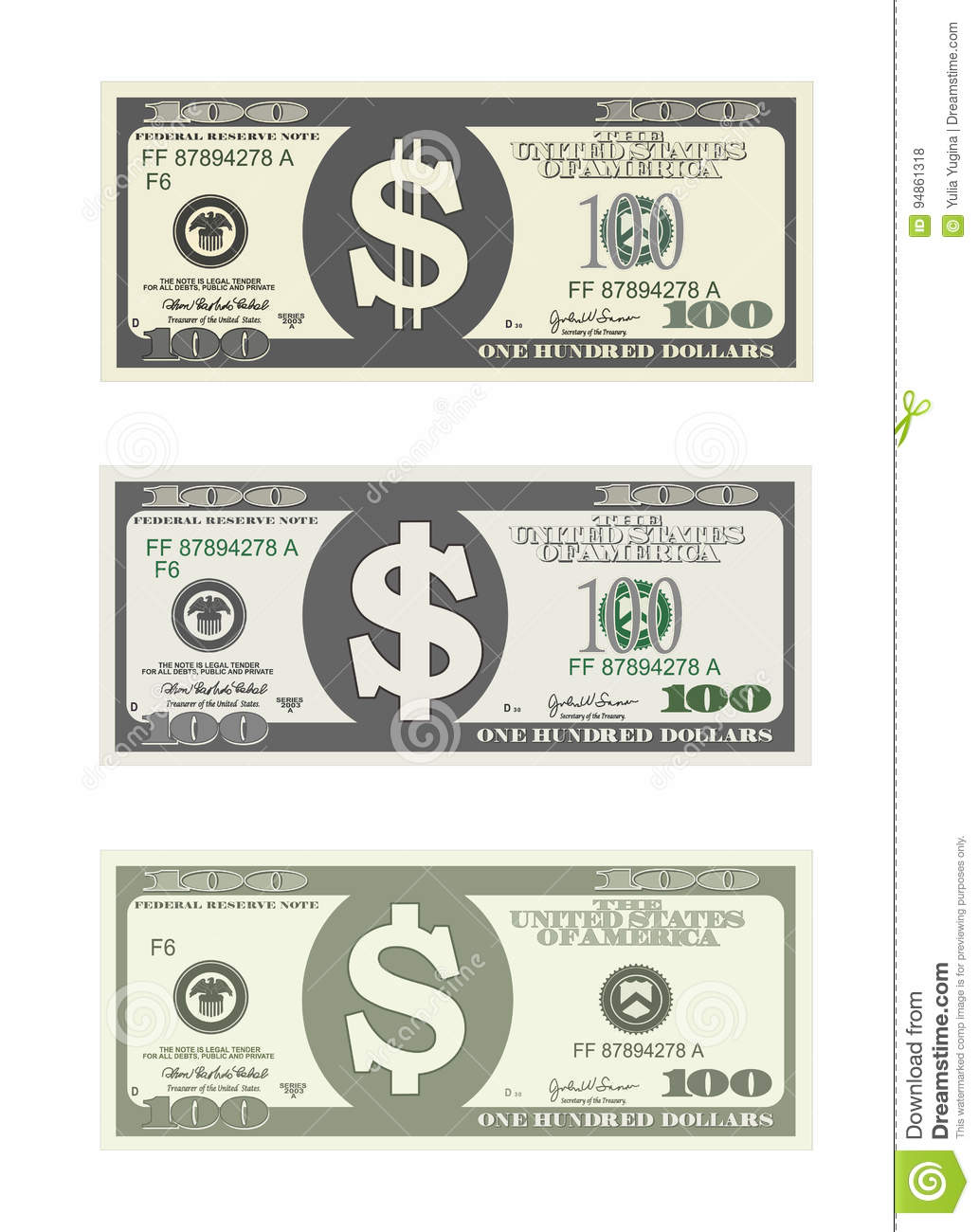 Bill One Hundred Dollars In Three Options. Stock Vector ...