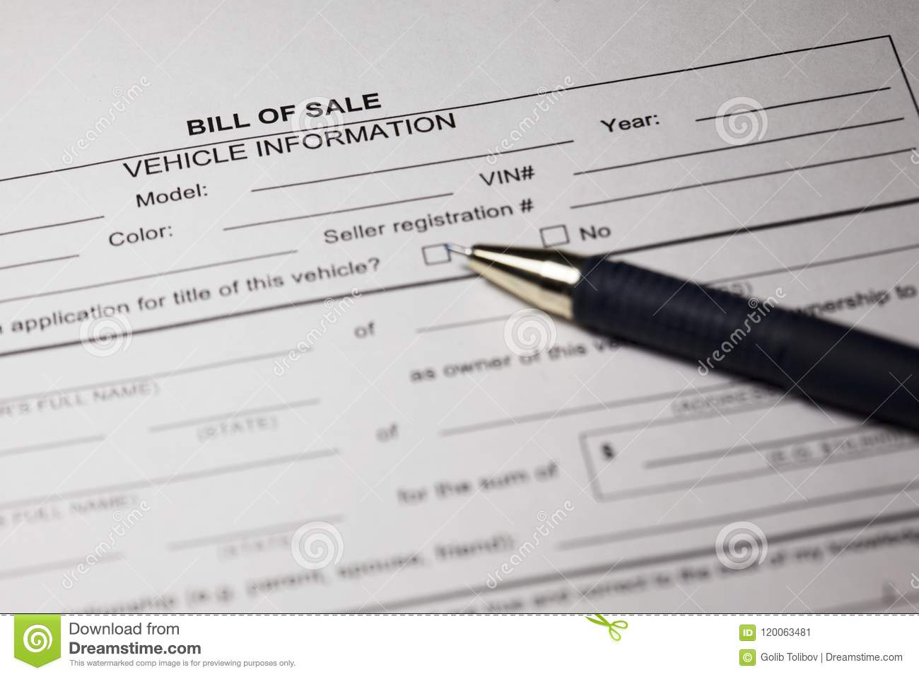 Bill Of Sale Form And Pen Stock Image Image Of Banking