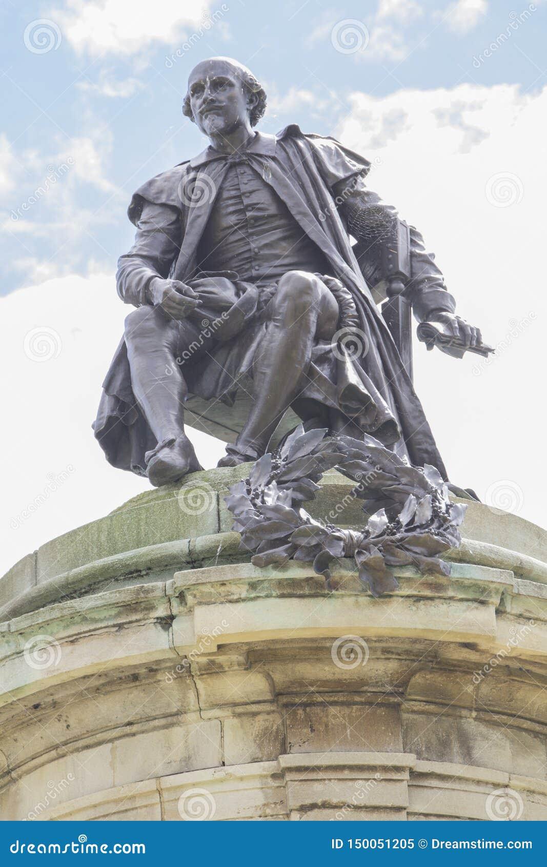 Bill Shakespeare staty i Stratford-på-Avon