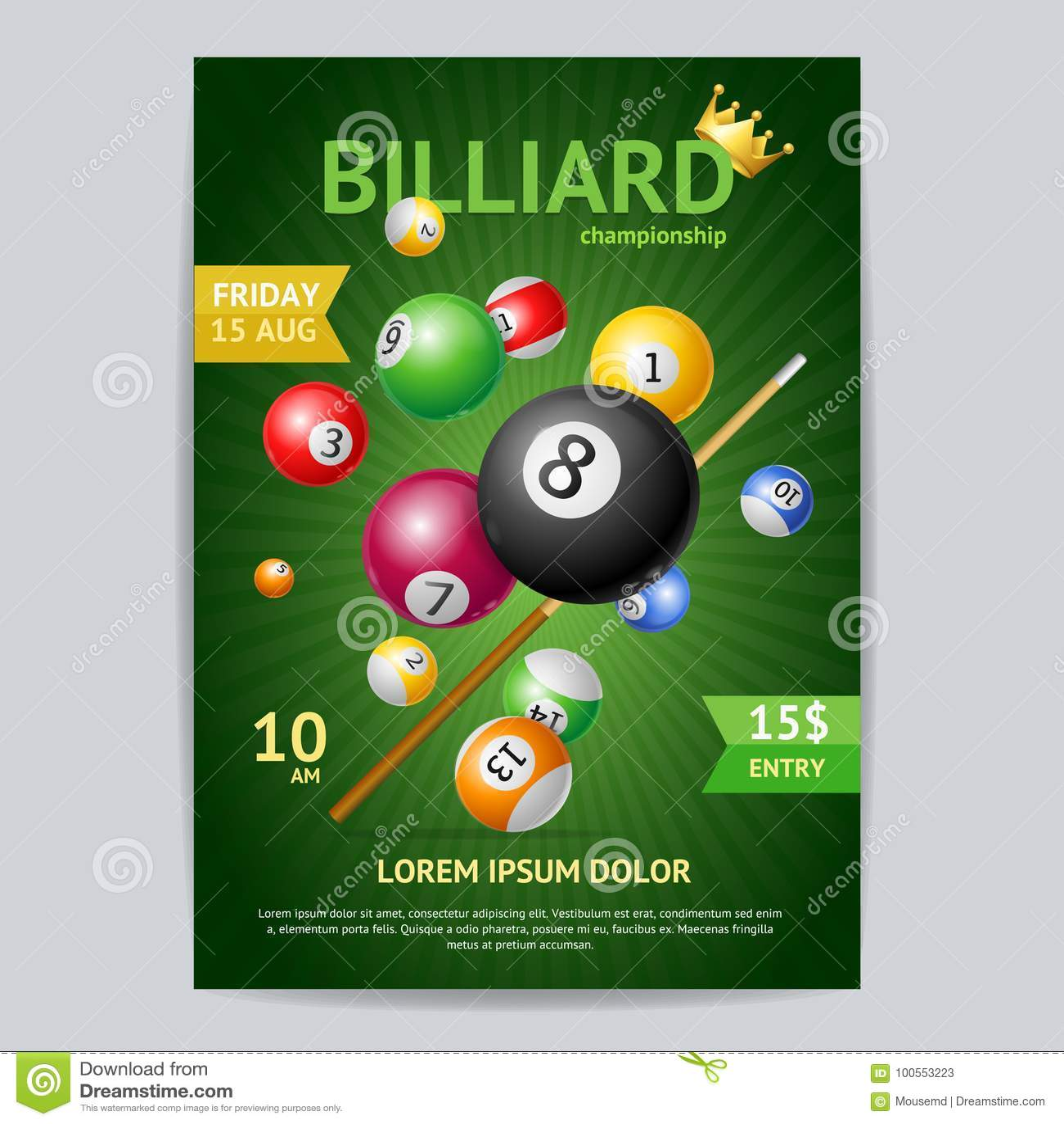 Billard-Turnier-Plakat-Karten-Schablone Vektor Vektor Abbildung ...