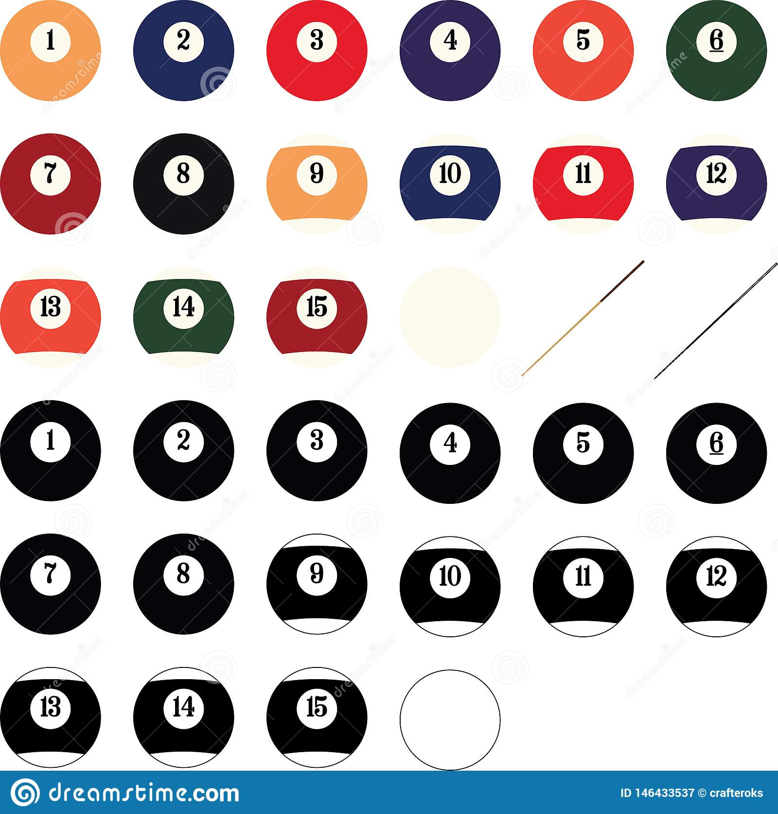 Billardkugel-Vektor, ENV, Logo, Ikone, Schattenbild-Illustration durch crafteroks für unterschiedlichen Gebrauch Besichtigen Sie
