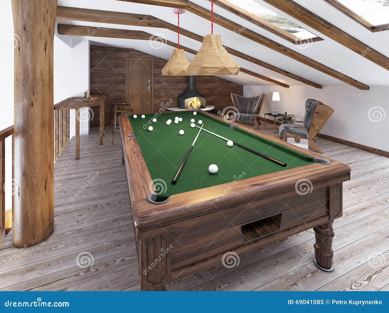 billardraum im dachboden mit sitzecke und kamin stockbild bild von fu boden kugel 69041085. Black Bedroom Furniture Sets. Home Design Ideas