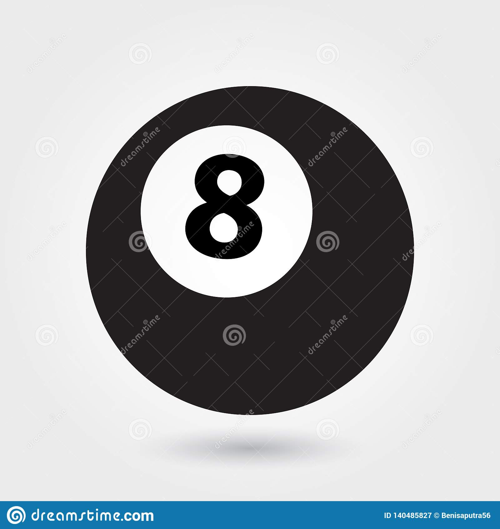 Billardvektorikone, Ikone mit 8 Bällen, Sportballsymbol Moderner, einfacher Glyph, feste Vektorillustration