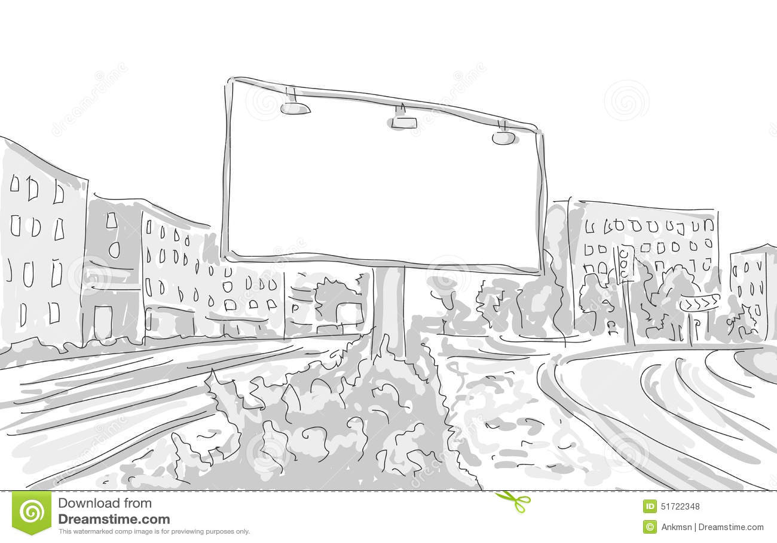 Billboard In The City Draw Graphic Design Stock Vector