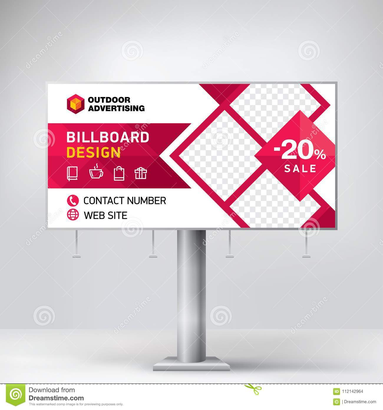 billboard design template for outdoor advertising posting photos