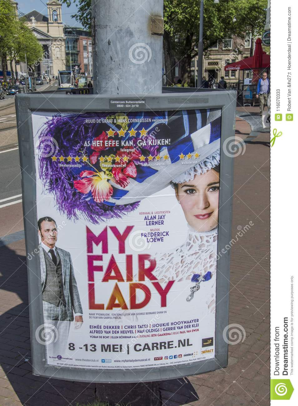 Billboard My Fair Lady Amsterdam The Netherlands Editorial Stock