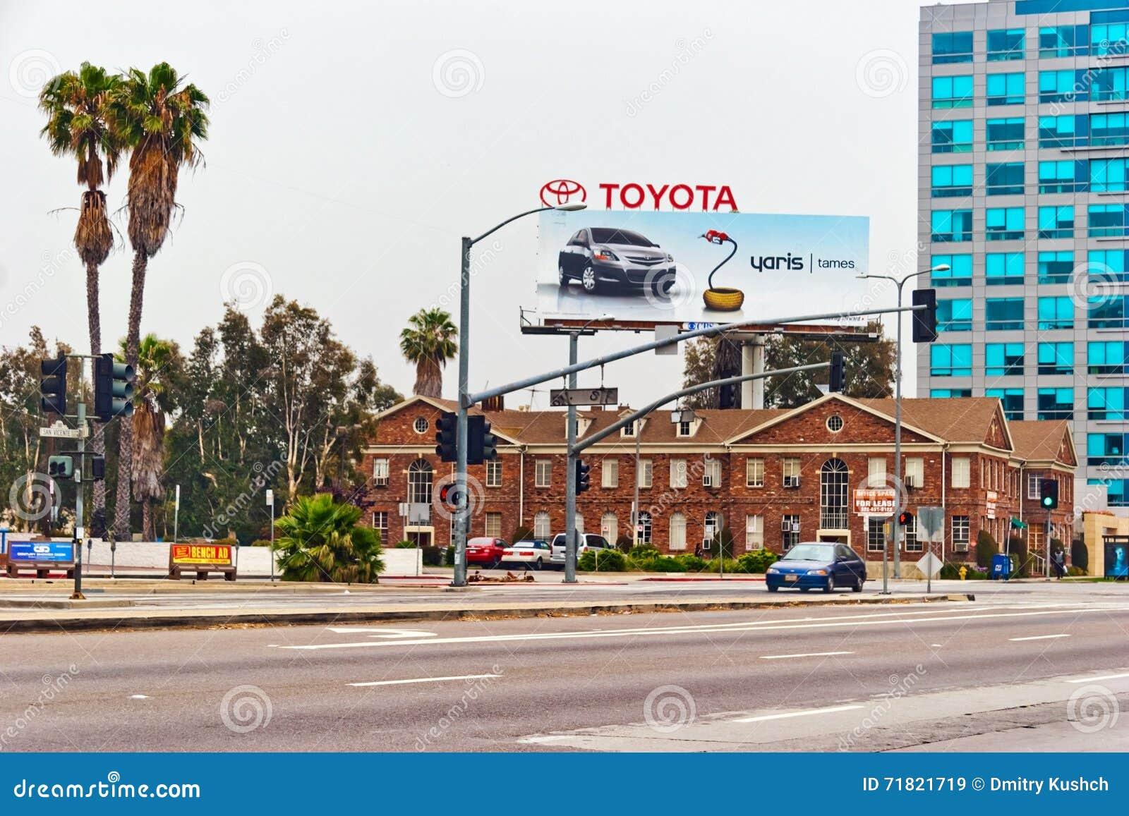 Billboard Toyota Yaris In Downtown Of Los Angeles