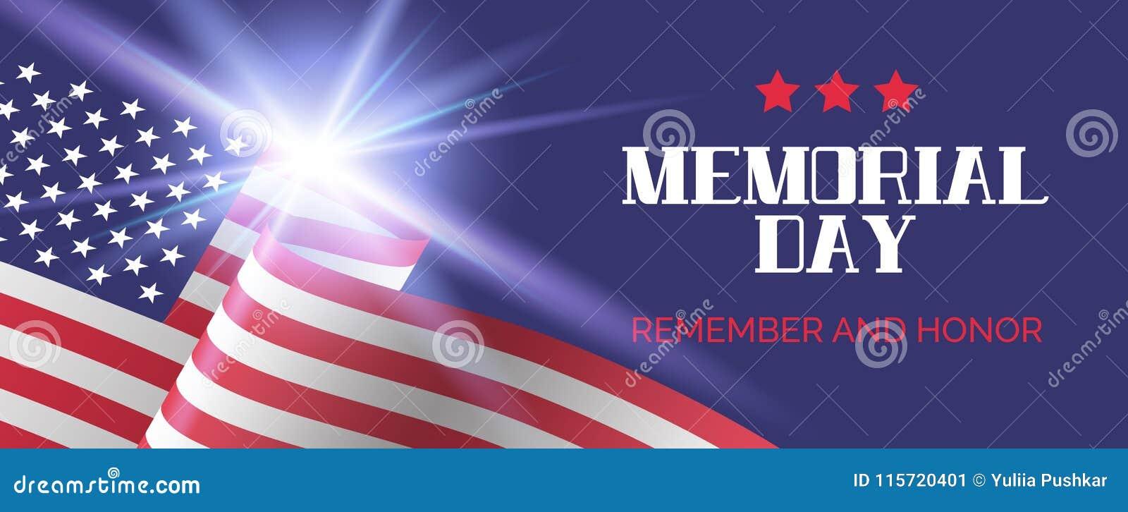 Billboardu dzień odosobniony pamiątkowy biel Pamięta I Honoruje Wektorowy powitanie sztandaru szablon