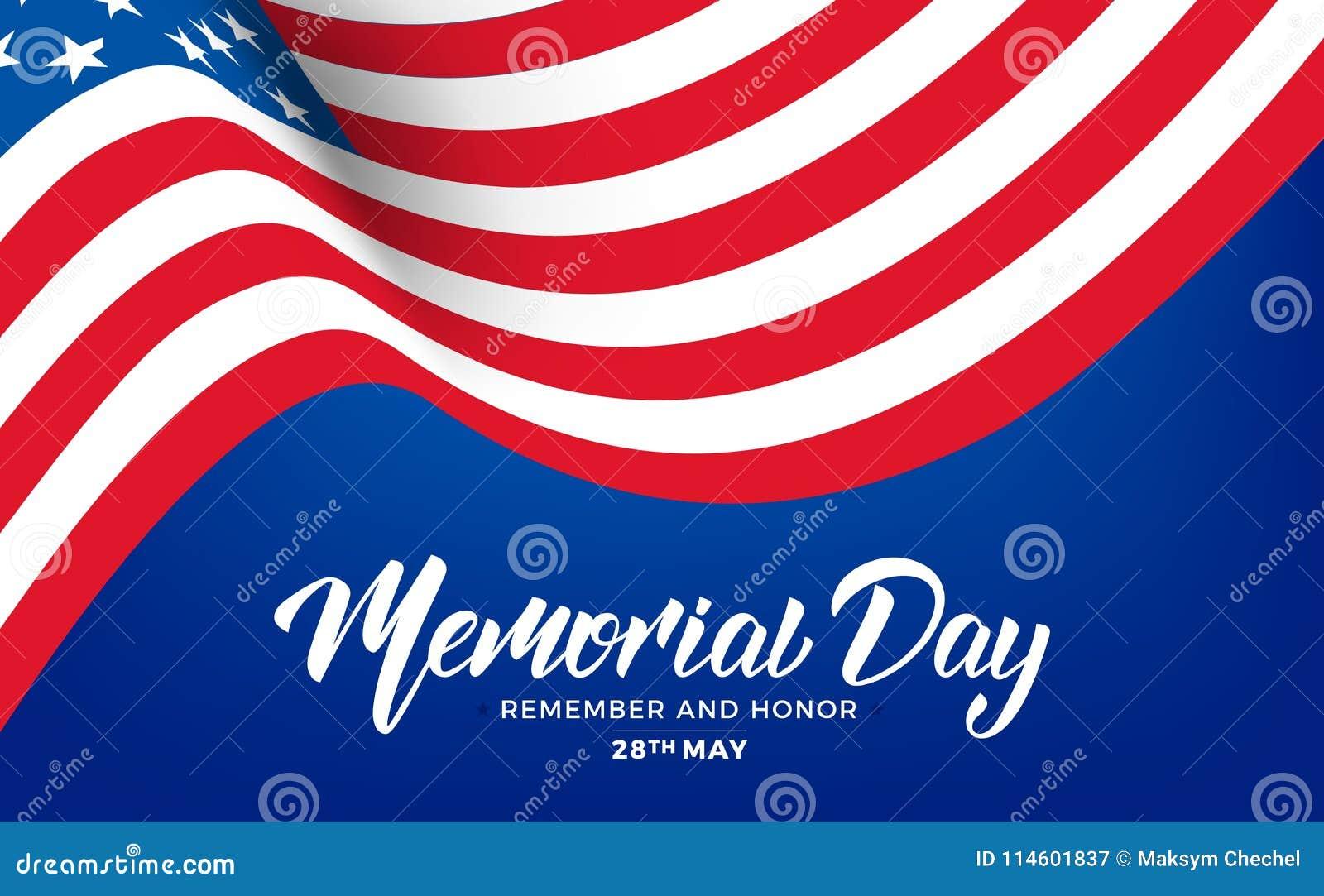 Billboardu dzień odosobniony pamiątkowy biel USA dnia pamięci sztandar z literowania i falowania flaga usa
