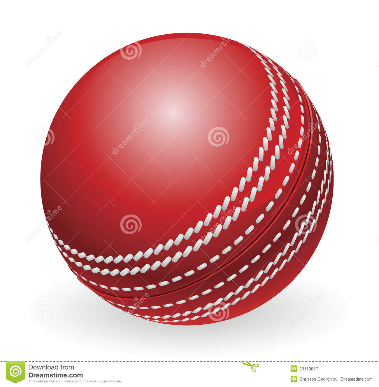 Bille de cricket traditionnelle rouge brillante