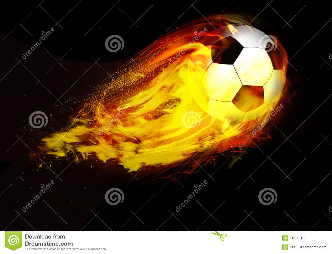 Bille de football par des flammes