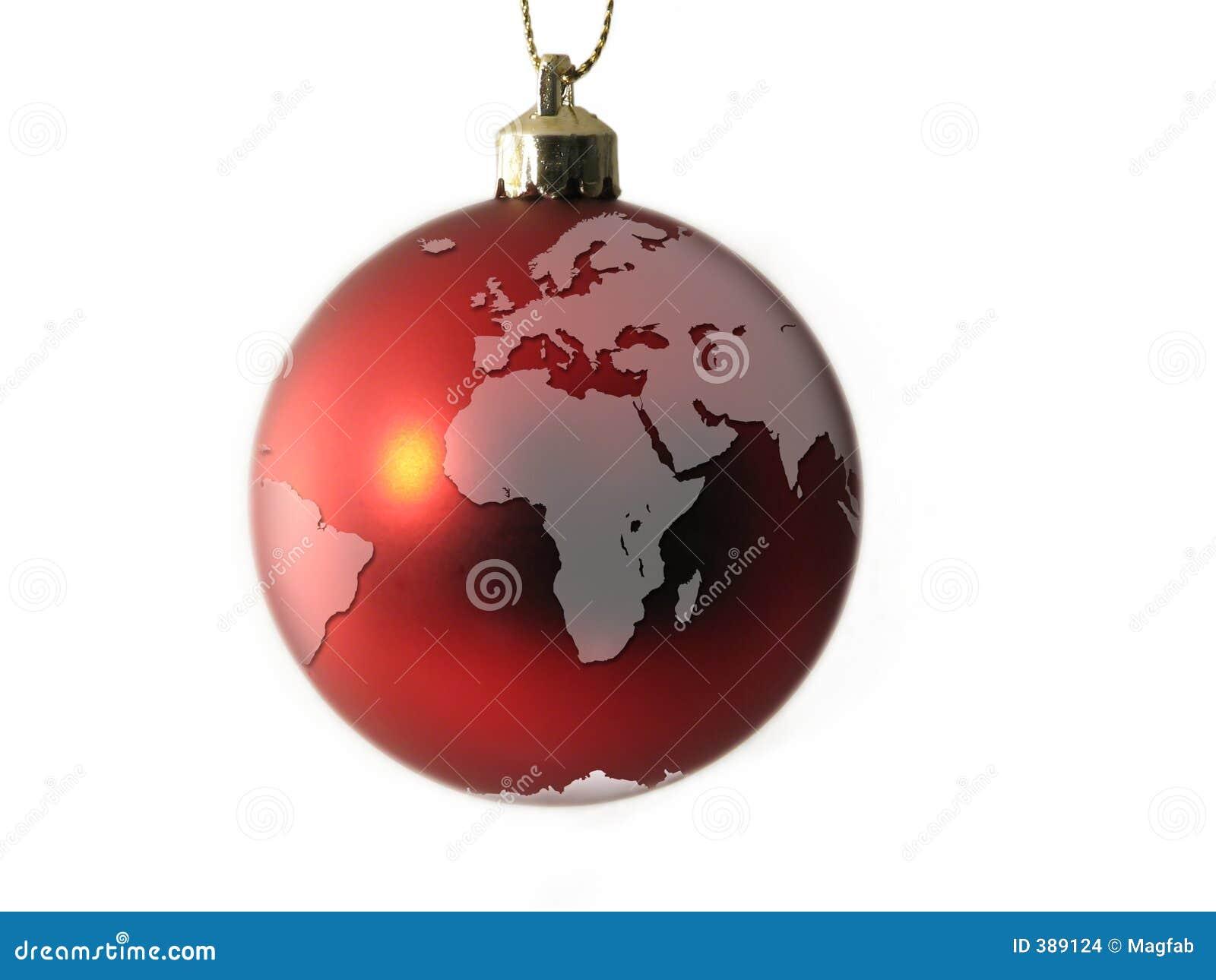 Bille de Noël - globe l Europe et Afrique du monde