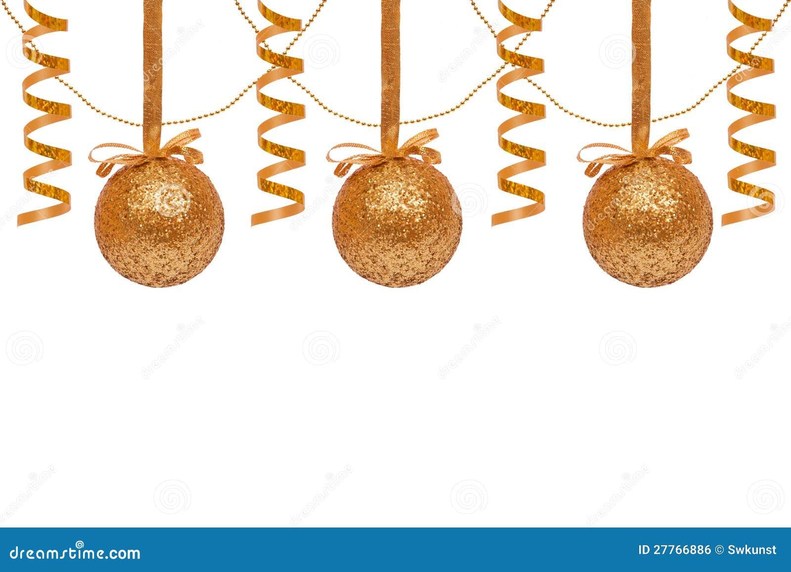 Billes d or de Noël.