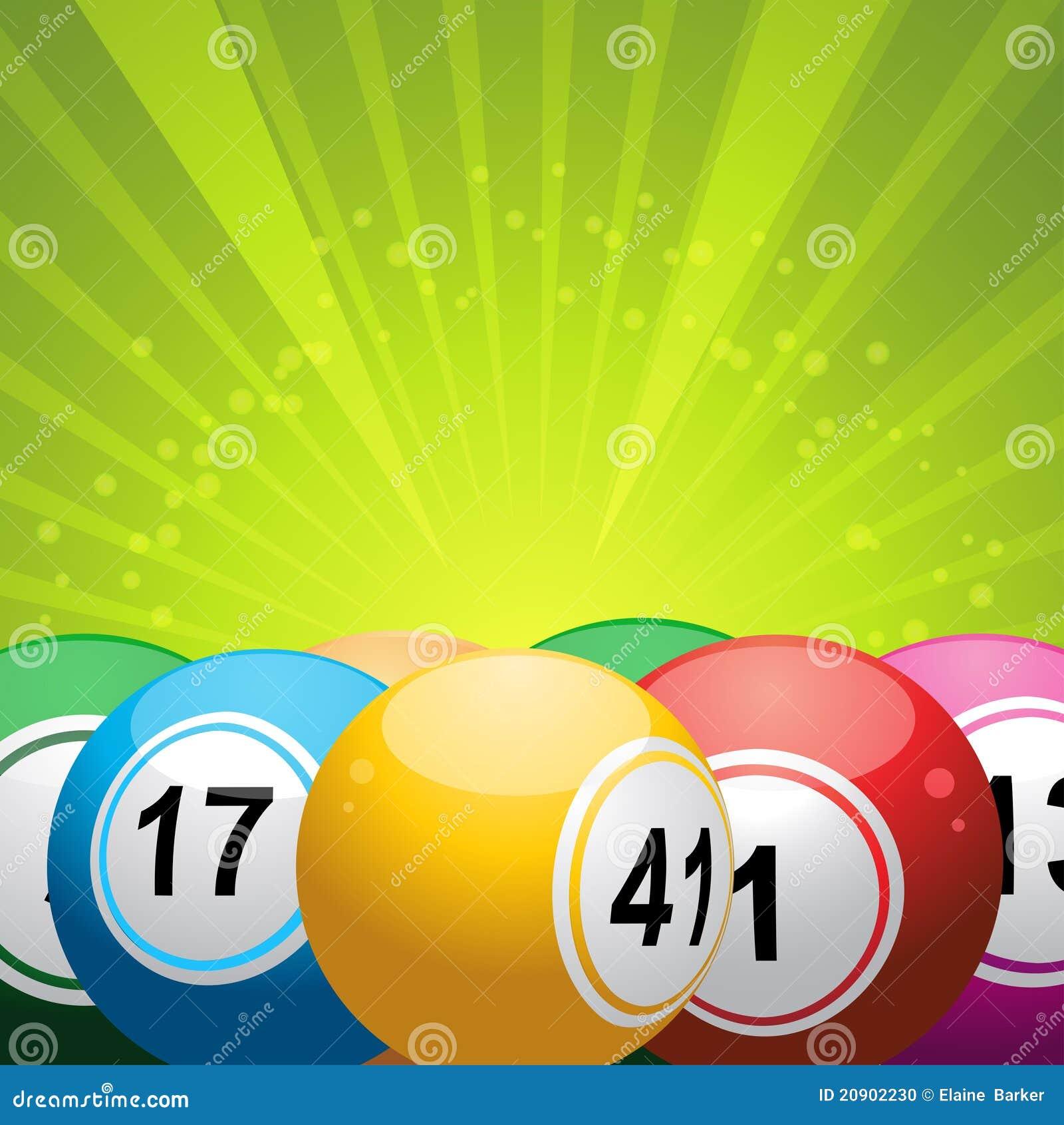 Billes de bingo-test sur le starburst vert