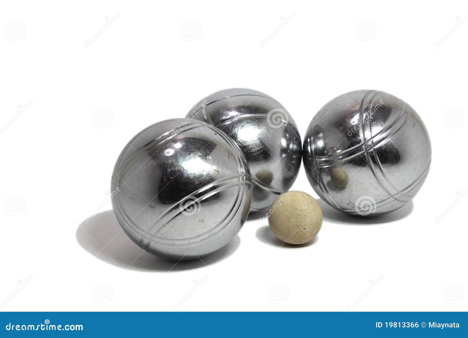 Billes de petanque avec un plot cochonnet photo stock for Nettoyer boule de petanque