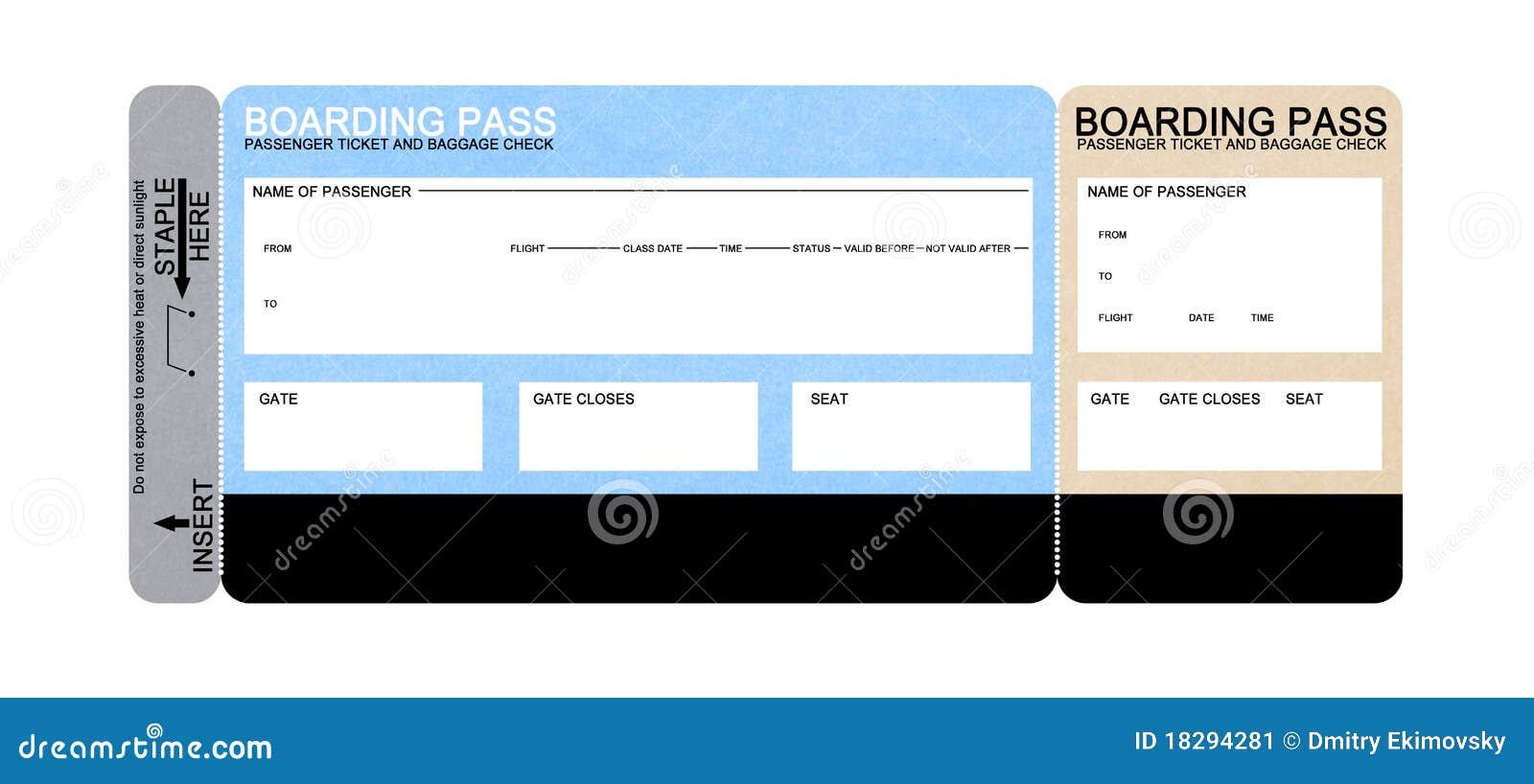 Billet blanc de passage d embarquement de compagnie aérienne
