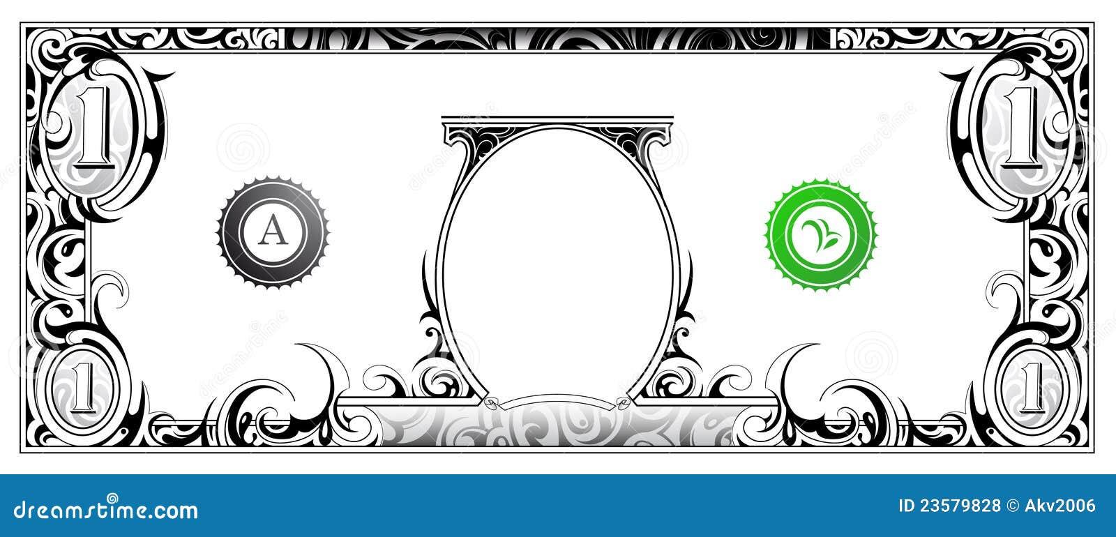 Billet d un dollar am  233 ricain avec l ornement artistique Dollar Bill Icon Vector